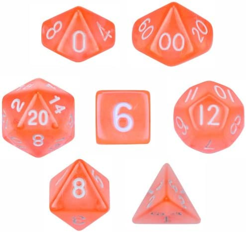 Polyhedral Dice Translucent Orange