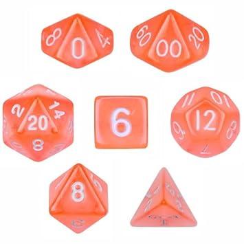 7 Die Polyhedral Dice Set Transluzent Orange Mit Samtbeutel Von