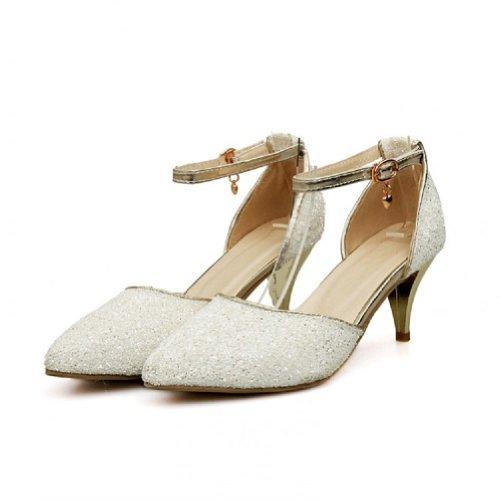 Zapatos De Vestir De Tacón Alto Para Mujer De Lentejuelas De Moda Charm Foot Blanco
