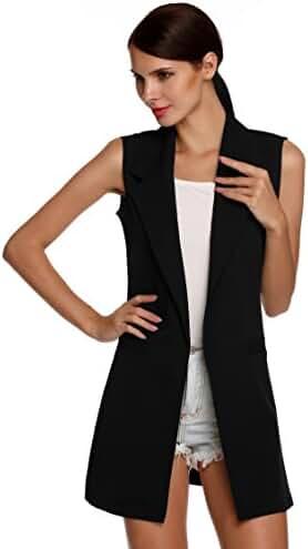 Meaneor Women's Oversized Open Longline Sleeveless Duster Blazer Jacket Coat