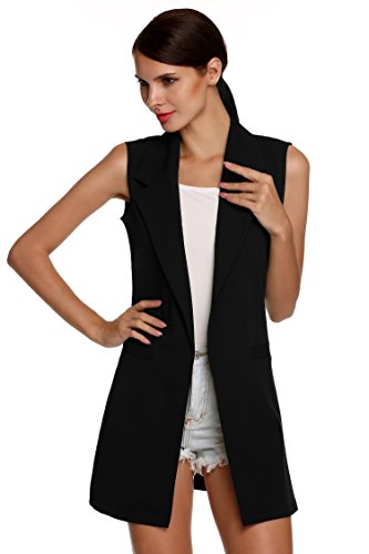 Beyove+Women%27s+Sleeveless+Oversized+Open+Longline+Duster+Blazer+Jacket+Coat+Black+M