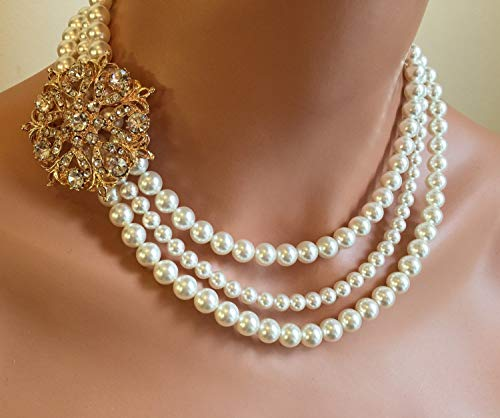 Pearl Backdrop Necklace with Rose Gold Brooch in 3 multi strands Swarovski pearls. White, Ivory or your choice of color. Wedding jewelry Sets by Alexi Blackwell Bridal -