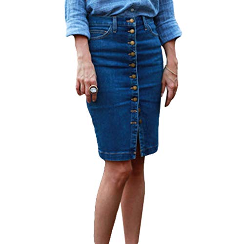 Yying Body Button Denim Bodycon Pencil Robe Mi-Longue Jupe Fendue Taille Haute XS-XL Bleu