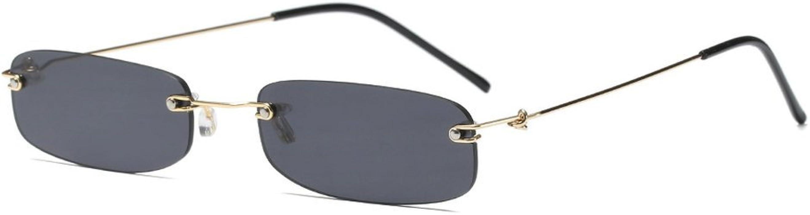 c346d203154 MINCL Small Chic Rectangular Rimless Sunglasses Women Men Fashion Vintage  Design UV400 (black)