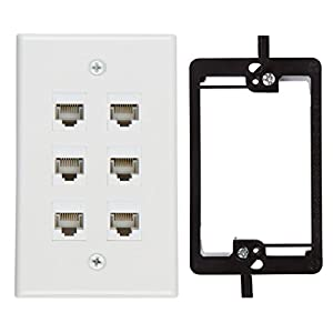 Buyer's Point 6 Port Cat6 Wall Plate, Female-Female White with Single Gang Low Voltage Mounting Bracket Device (6 Port)