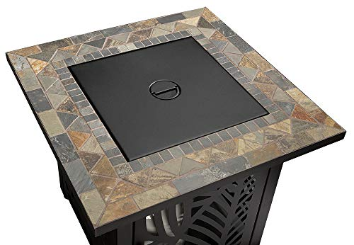 Endless Summer GAD15258SP LP Gas Outdoor Fire Table, Multi Color - Endless Summer Square LP Gas Fire Table with Stamped Steel Leaf Design Base 50,000 BTU Stainless Steel Burner with Integrated Ignition Slate Tile Mantel - patio, outdoor-decor, fire-pits-outdoor-fireplaces - 41aQJG93mkL -