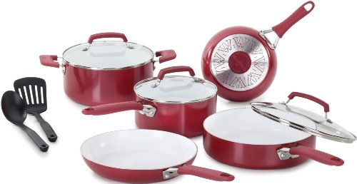 tfal red ceramic cookware - 2