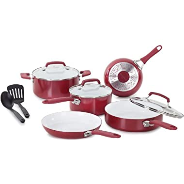 WearEver C943SA Pure Living Nonstick Ceramic Coating Scratch-Resistant PTFE PFOA and Cadmium Free Dishwasher Safe Oven Safe Cookware set, 10-Piece, Red