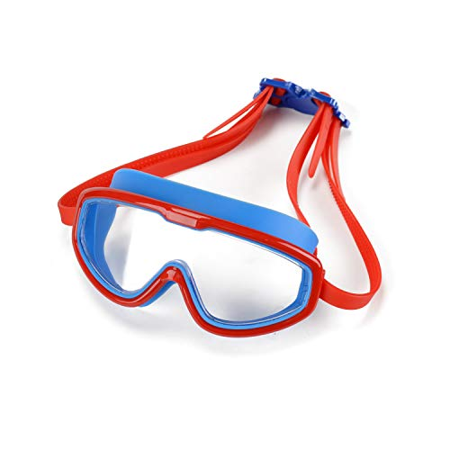 Peacoco Kids' Wide Swim Goggles, Swimming Goggles for Kids Soft Big Silicone Frame No Leak and Comfortable Anti Fog Swimming Goggles for Girls Boys (Blue Red)