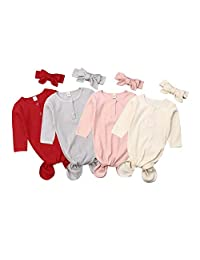 Canrulo Newborn Unisex Baby Gown Knotted Baby Coming Home Outfit Sleepwear Sleeping Bags