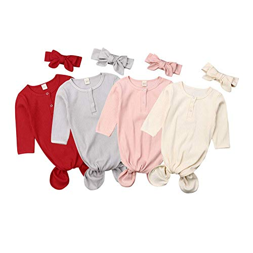 - Newborn Unisex Baby Gown Knotted Baby Coming Home Outfit Sleepwear Sleeping Bags (0-6 Months, Red)