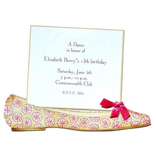 Ballerina Card Flat (Pink Ballerina Flat Shoe Die-cut Card, Pack of 10)