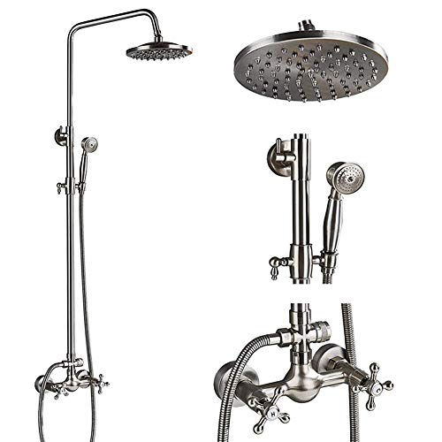 (Votamuta Stainless Steel 8 Inch Rainfall Shower Faucet Set Wall Mounted Bathroom Dual Cross Handles Shower Mixer Tap with Hand Sprayer Brushed Nickel)