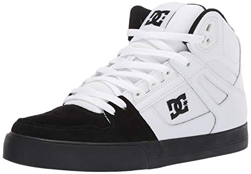 Sneakers Suede Dc - DC Men's Pure HIGH-TOP WC Skate Shoe, White/Black, 9 M US