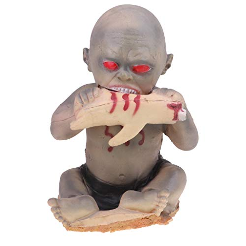 SM SunniMix Bloody Zombie Baby Doll Halloween Props - Sharp Teeth & Red Eyes - Eating Hand Devil Doll Model Halloween Decoration -
