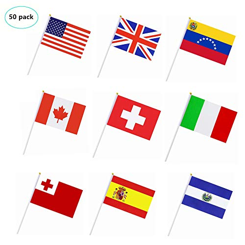 PortableFun 50 Countries Hand Held Stick Flags Banners,Small Mini International World Country Party Decorations for Grand Opening,Olympics,Sports Clubs,Bar,Festival Events