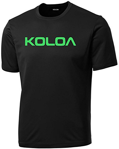 Koloa Surf Original Logo Tall Athletic All Sport Training T-Shirt-Black/green-3XLT