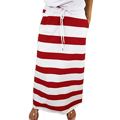 (Clearance! Elogoog Womens Casual Elastic Waist Stripe Skirt Stretch Hight Waist Stripe Maxi Long Skirts with Pockets (L, Red))
