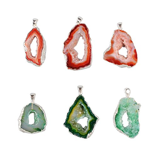 ZENGORI 1Pcs 925 Sterling Silver Plated Natural Freedom Druzy Agate Geode Slice Pendant Bead ()