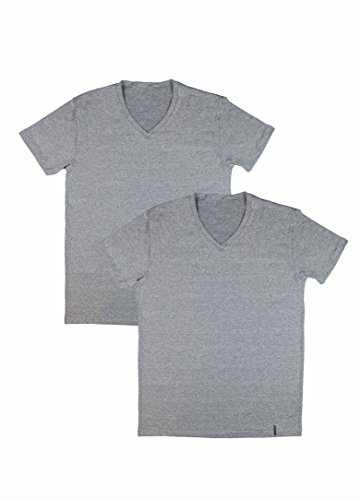 RBX Active 2-Pack Men's V-Neck Undershirts Light Grey Heather XL