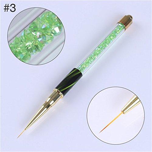 1Pc Gradient Nail Liner Painting Brush Pen Multi Size Cat Eye Rhinestone Handle Manicure Nail Art Brush Tool Pattern 3 by Transfer Rose