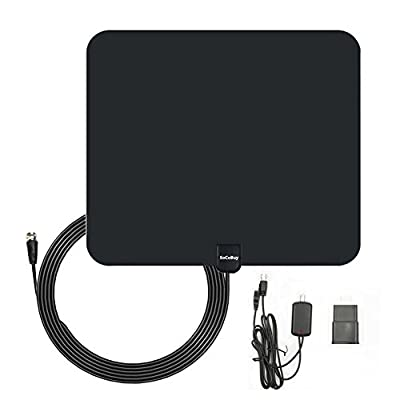 TV Antenna Indoor HDTV Digital Antenna 50 Miles Range with Amplifier Signal Booster for UHF VHF, USB Power - 10ft Coax Cable