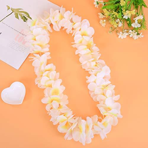 LAYSERI Pack of 4 Mahalo Floral Leis Ruffled Hawaiian Simulated Silk Flower Hula Luau Party Leis Necklace Holiday Wedding Birthday Decorations Island Beach Costumes Hula-Hula Dance Decor(White) -