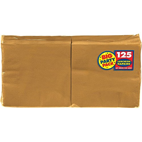 Big Party Pack Gold Luncheon Napkins | Pack of 125 | Party Supply ()