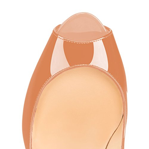 Fsj Women Graceful Peep Toe Pumps Tacchi Alti Con Plateau Slip On Party Prom Shoes Taglia 4-15 Us Nude-patent