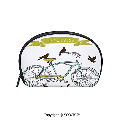 (SCOCICI Printed Small Travel Toiletry Cosmetic Pouch I Love My Bike Concept with Birds on the Seat Cruisers Basic Vehicle Simplistic Art Handy Daily Storage Makeup Bag)