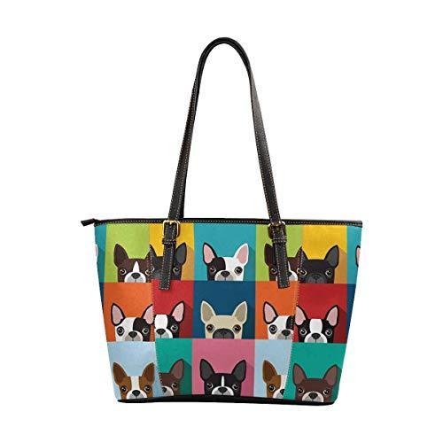 Boston Terrier Purse - InterestPrint Women Tote Bags Top Handle Handbags PU Leather Purse Boston Terrier