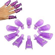 Lookatool Hot Selling! 10PC Plastic Nail Art Soak Off Cap Clip UV Gel Polish Remover Wrap Tool (Purple)