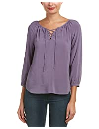 Velvet Womens Lace Up Bishop Sleeves Blouse
