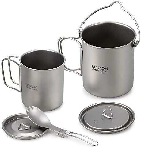Lixada Camping Titanium Cookware Set,Partable Foldable Handles and with Lid Design with Pot,Water Cup,Spork and Windscreen for Outdoor Camping Hiking Backpacking Optional