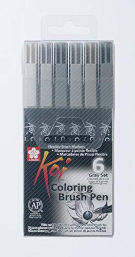 Sakura Koi Coloring Brush Pen Set Of 6 Stick Ballpoint Pens