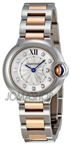 Cartier Ballon Bleu 28mm Ladies Quartz 18k Rose Gold and Stainless Steel Diamond Dial Watch - WE902030