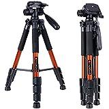 "Tairoad T1-111 Camera Tripod 55"" Aluminum Lightweight Sturdy Tripod for DSLR EOS Canon Nikon Sony Samsung Max Capacity 11lbs (Orange)"