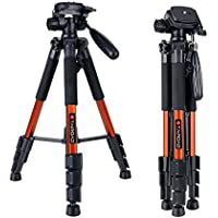 Tairoad Tripod 55 Aluminum Lightweight Sturdy Tripod for DSLR EOS Canon Nikon Sony Samsung Max Capacity 11lbs (Orange)
