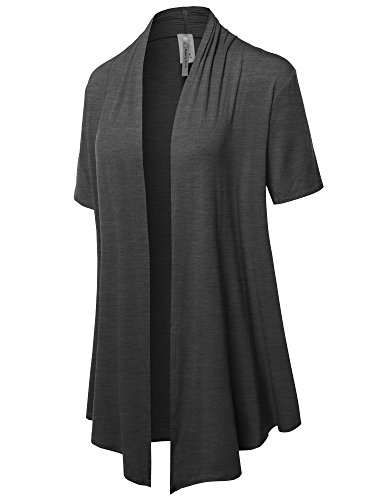 - Solid Jersey Knit Draped Open Front Short Sleeves Cardigan Charcoal 2XL