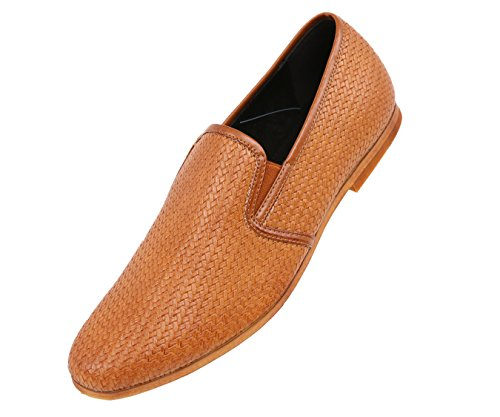 Amali Mens Dress Casual Loafers in Woven Embroidered Designs Woodlike Sole Styles Trey, Trap, Harmon by Amali