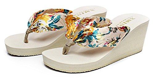 Sfnld Kvinna Trendig Sommar Bohemisk Flip Flop Plattform Kilklack Thong Beach Sandaler Beige