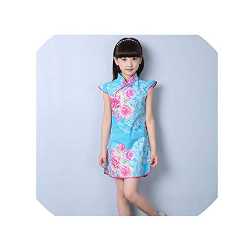 (1-9Y Summer Vintage Baby Girls Dress Elegant Chinese Style Children Clothing Costume Kids Dresses for Girls Clothes,Style)