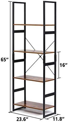 home, kitchen, furniture, home office furniture,  bookcases 7 image KINGSO Industrial Ladder Shelf 4-Tier Shelves Bookshelf deals