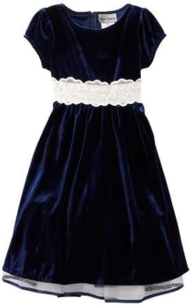 Rare Editions Big Girls' Velvet Dress, Navy/White, 7