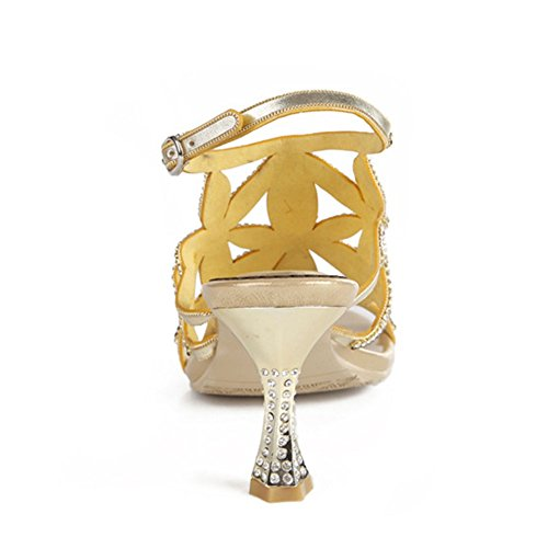 5 Arco Sandali 5 Moda uk4 Eu37 Pesce Oro Scarpe Eu36uk35 Strass Estive Fiore Highxe Bocca Donna Diamante Signora Nuovo Color T4qwAYA
