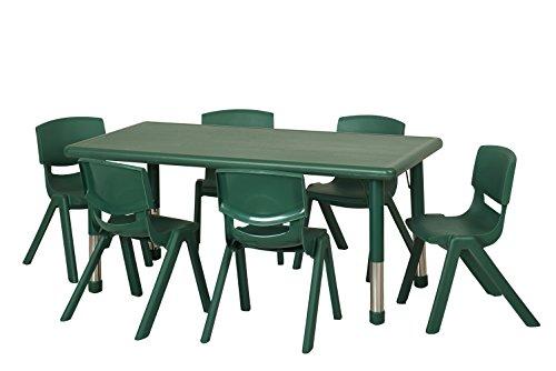 ECR4Kids 24 x 48'' Rectangular Resin Adjustable Activity Table, Green by ECR4Kids (Image #1)