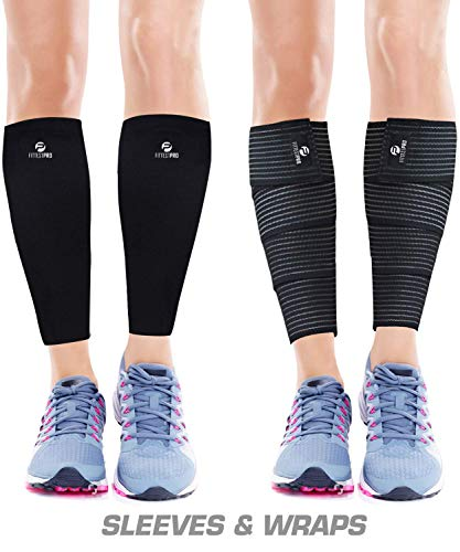 Calf Compression Sleeve Socks and Leg Wraps (4 Piece) Shin Splint Support, Calve Guards for Men and Women - Braces Provide Healthy Circulation Pain Relief for Running, Basketball, Cycling, Maternity