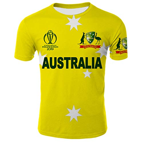 Australia Cricket World Cup 2019 Shirt Unisex 3D Novelty T-Shirts XL (Australia Cricket T Shirts)