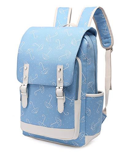 Leaper Cute Umbrella Laptop Backpack Travel Bag School Bag Satchel Blue L