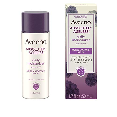 Aveeno Absolutely Ageless Daily Facial Moisturizer with Broad Spectrum SPF 30 Sunscreen, Antioxidant-Rich Blackberry Complex, Vitamins C & E, Hypoallergenic, Non-Comedogenic & Oil-Free, 1.7 fl. oz
